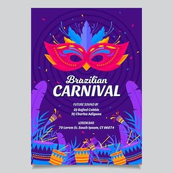 Modelo de folheto de design plano para carnaval brasileiro