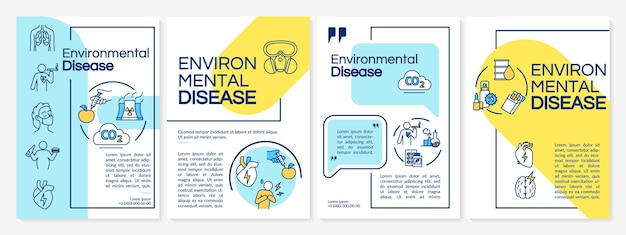 Modelo de folheto de doenças ambientais. causas de cvd, folheto de poluição do ar, livreto, impressão de folheto, design da capa com ícones lineares. layouts de vetor para revistas, relatórios anuais, pôsteres de publicidade