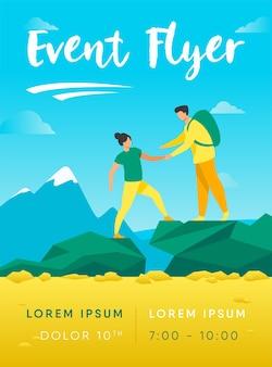 Modelo de folheto de dois turistas caminhando em montanhas