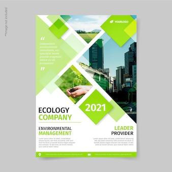 Modelo de folheto de ecologia empresarial Vetor grátis
