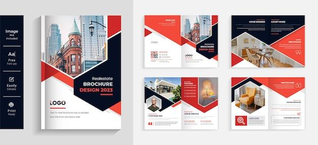 Modelo de folheto de empresa imobiliária vermelho e preto 08 página design moderno e criativo