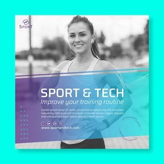Modelo de folheto de esporte e tecnologia