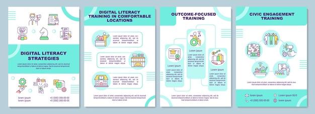 Modelo de folheto de estratégias de alfabetização digital. treinamento de habilidades. folheto, folheto, impressão de folheto, design da capa com ícones lineares.