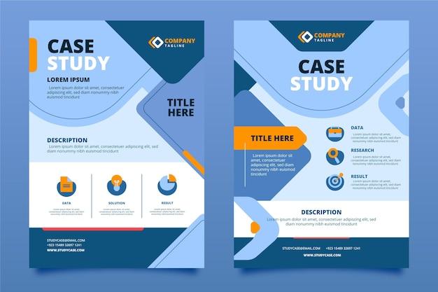Modelo de folheto de estudo de caso de design plano