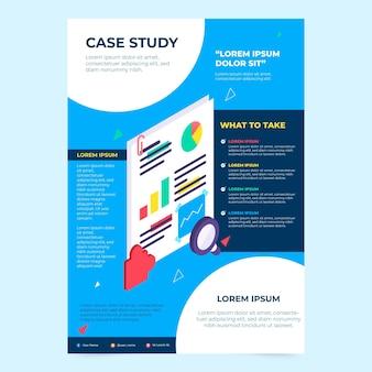Modelo de folheto de estudo de caso isométrico