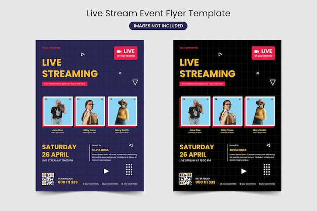 Modelo de folheto de evento de transmissão ao vivo
