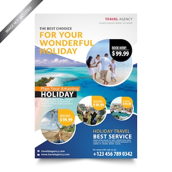 Modelo de folheto de férias de agência de viagens