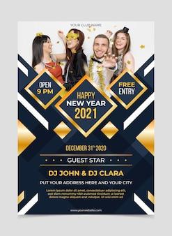 Modelo de folheto de festa de ano novo 2021 com foto