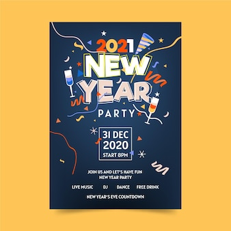 Modelo de folheto de festa de ano novo 2021 de design plano