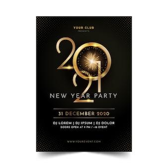 Modelo de folheto de festa de ano novo dourado 2021
