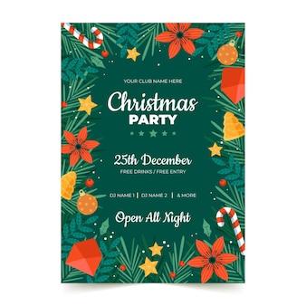 Modelo de folheto de festa de natal desenhado à mão