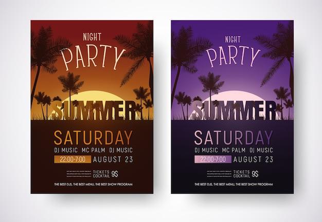 Modelo de folheto de festa de verão à noite com um pôr do sol laranja e roxo na praia com palmeiras.