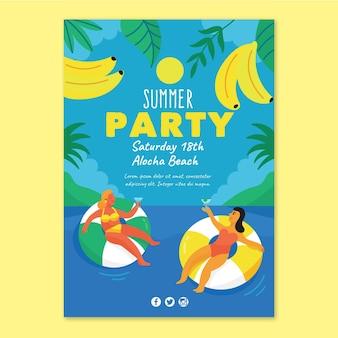 Modelo de folheto de festa de verão desenhada de mão