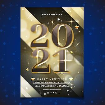 Modelo de folheto de festa desenhado à mão no ano novo 2021