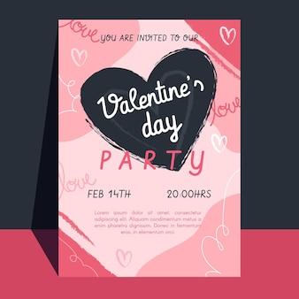 Modelo de folheto de festa plana para o dia dos namorados