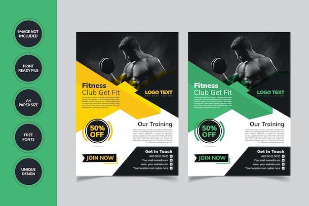 Modelo de folheto de fitness para academia