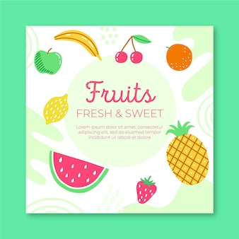 Modelo de folheto de frutas frescas