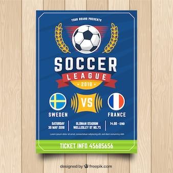 Modelo de folheto de futebol azul