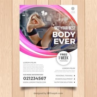Modelo de folheto de ginásio com foto