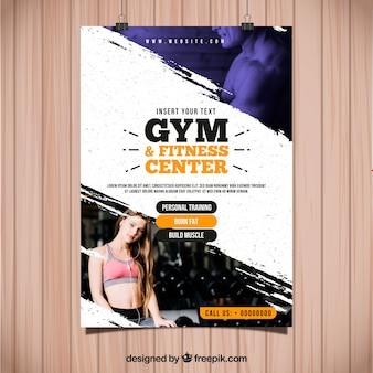 Modelo de folheto de ginásio com imagem