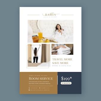 Modelo de folheto de hotel moderno com foto