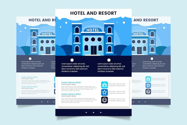Modelo de folheto de hotel moderno com ilustração