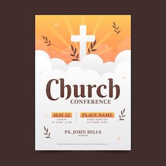 Modelo de folheto de igreja plana