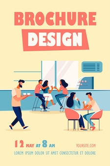 Modelo de folheto de ilustração de interiores de cafeteria