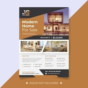Modelo de folheto de imóveis para venda em casa moderna