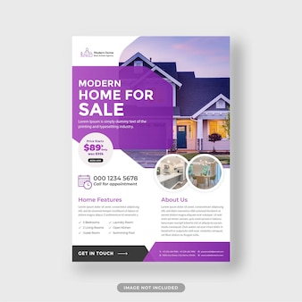 Modelo de folheto de imóveis para venda em casa vetor premium