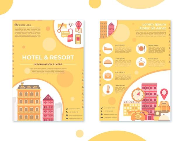 Modelo de folheto de informações de hotel em design plano