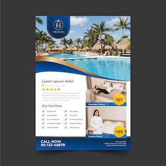 Modelo de folheto de informações do hotel com foto