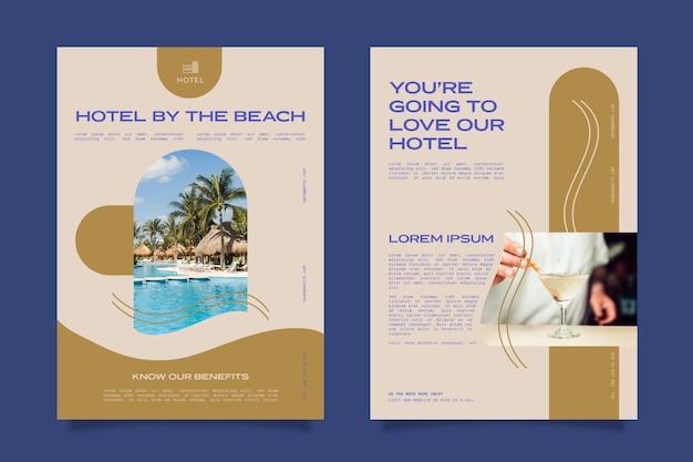 Modelo de folheto de informações sobre hotéis criativos com foto