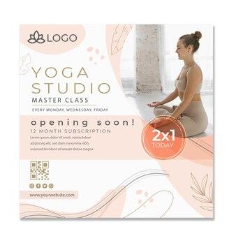 Modelo de folheto de ioga com foto