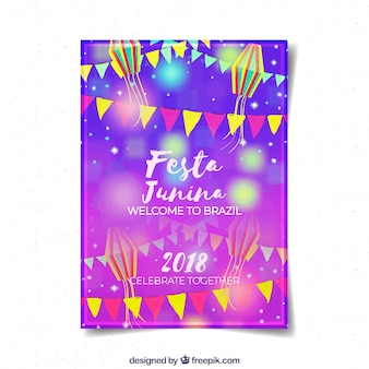 Modelo de folheto de junina de festa roxo brilhante