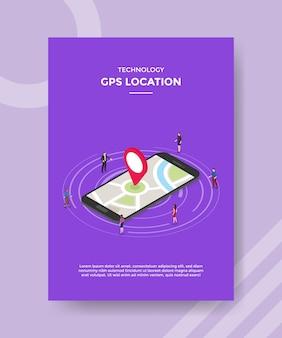 Modelo de folheto de localização gps de tecnologia