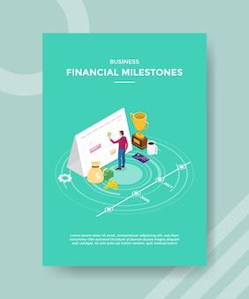 Modelo de folheto de marcos financeiros de negócios