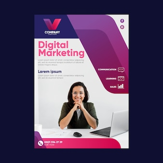 Modelo de folheto de marketing digital