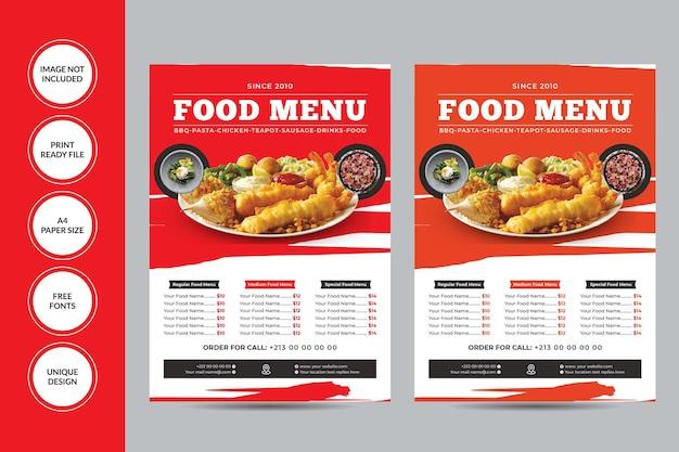 Modelo de folheto de menu de comida