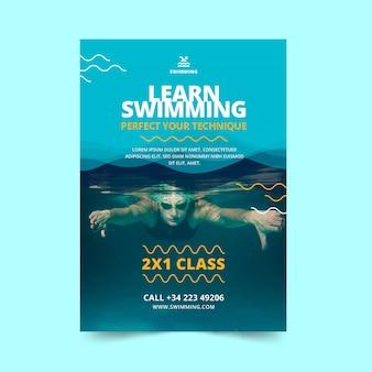 Modelo de folheto de natação é aulas de vida