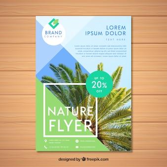 Modelo de folheto de natureza com foto