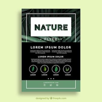 Modelo de folheto de natureza moderna com design plano