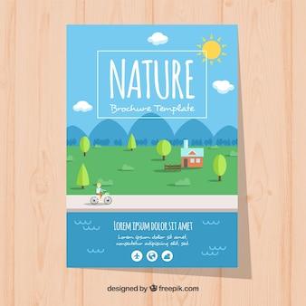 Modelo de folheto de natureza moderna com linda paisagem