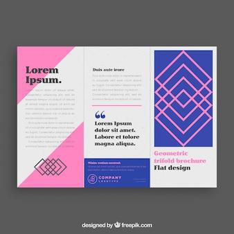 Modelo de folheto de negócio trifold rosa e azul