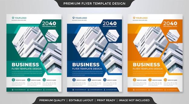 Modelo de folheto de negócios a4 com estilo moderno e premium