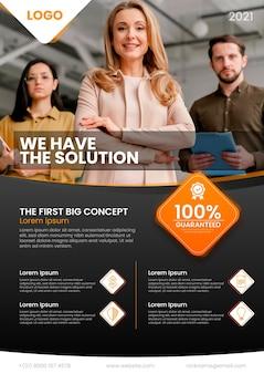 Modelo de folheto de negócios abstrato com foto