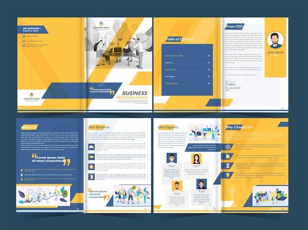 Modelo de folheto de negócios com duas dobras, livreto, layout de relatório anual com dois lados presentes