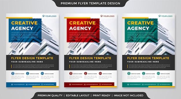 Modelo de folheto de negócios com layout moderno e estilo abstrato