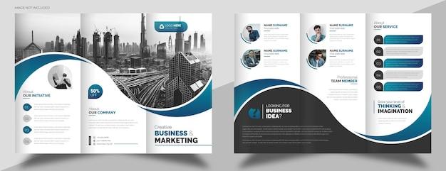 Modelo de folheto de negócios com três dobras e foto
