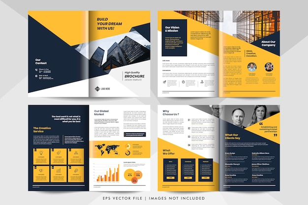 Modelo de folheto de negócios corporativos amarelo.